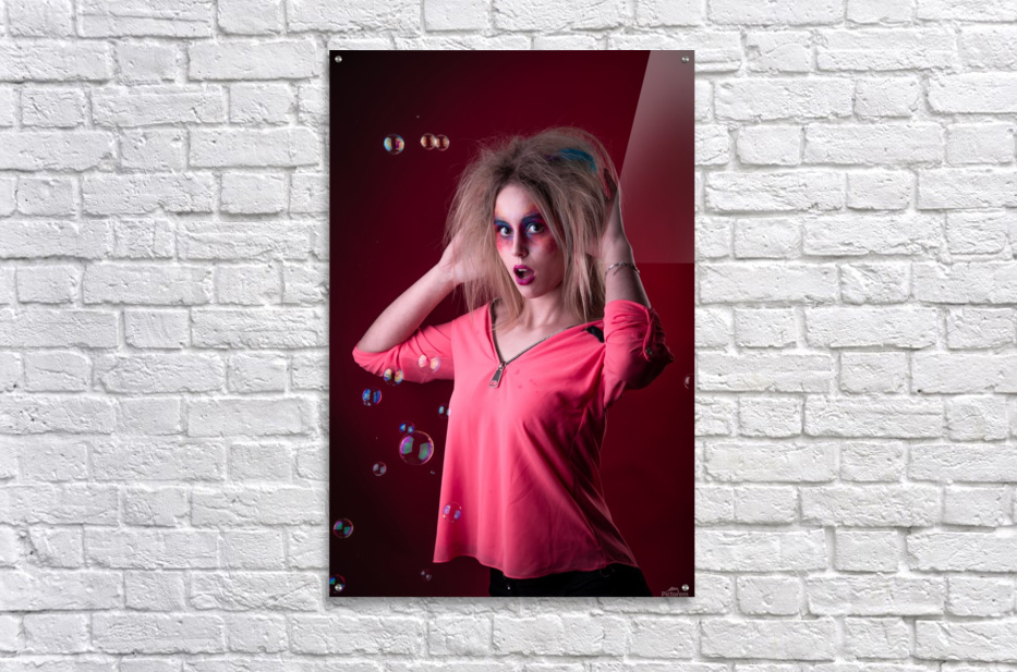Attractive young girl with disheveled hair   Acrylic Print