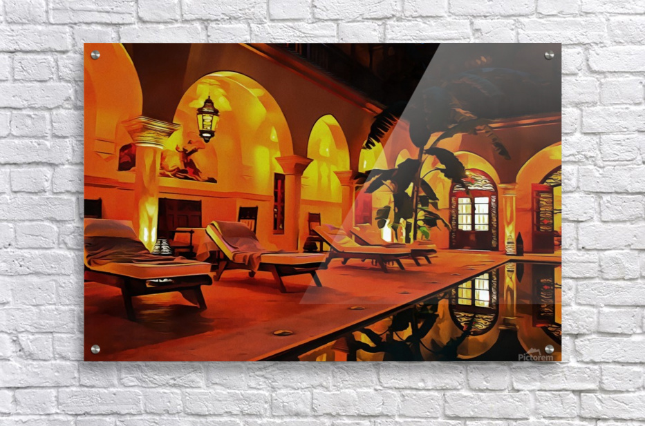 Riad At Night In Marrakech  Acrylic Print