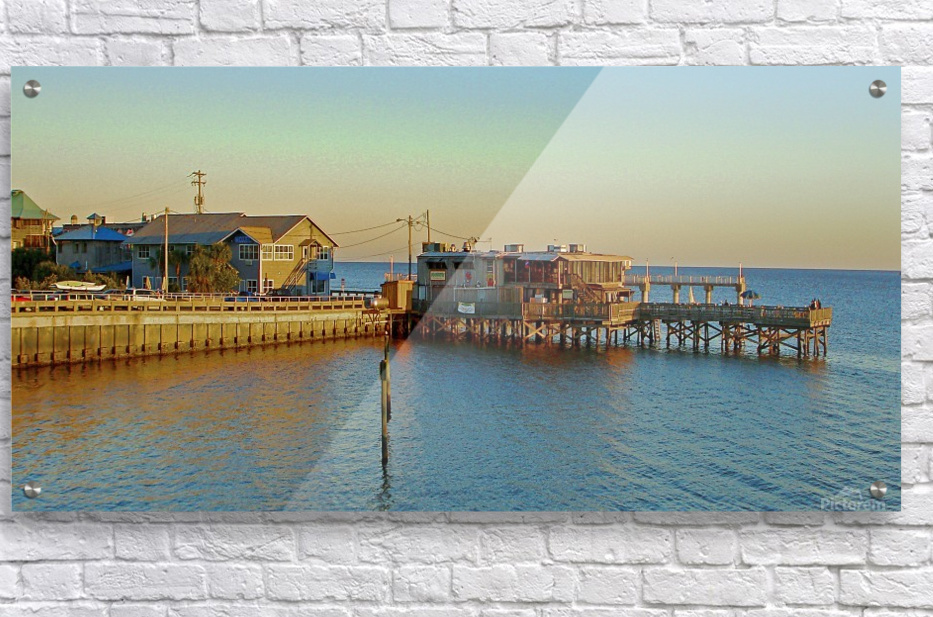 Cedar Key Florida - Sunset On The Wharf  Acrylic Print