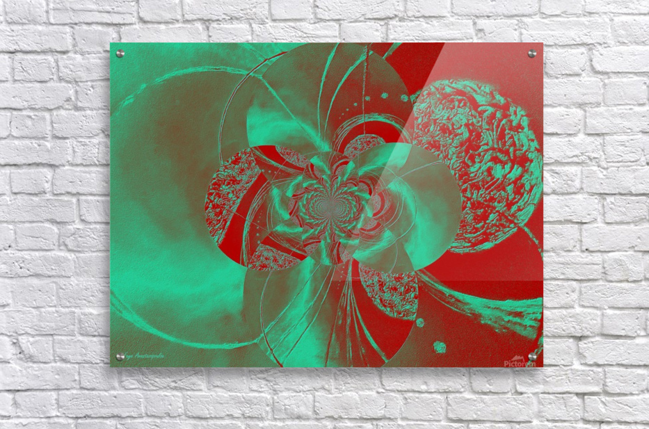 Emerald and Red Circular Patterns  Acrylic Print