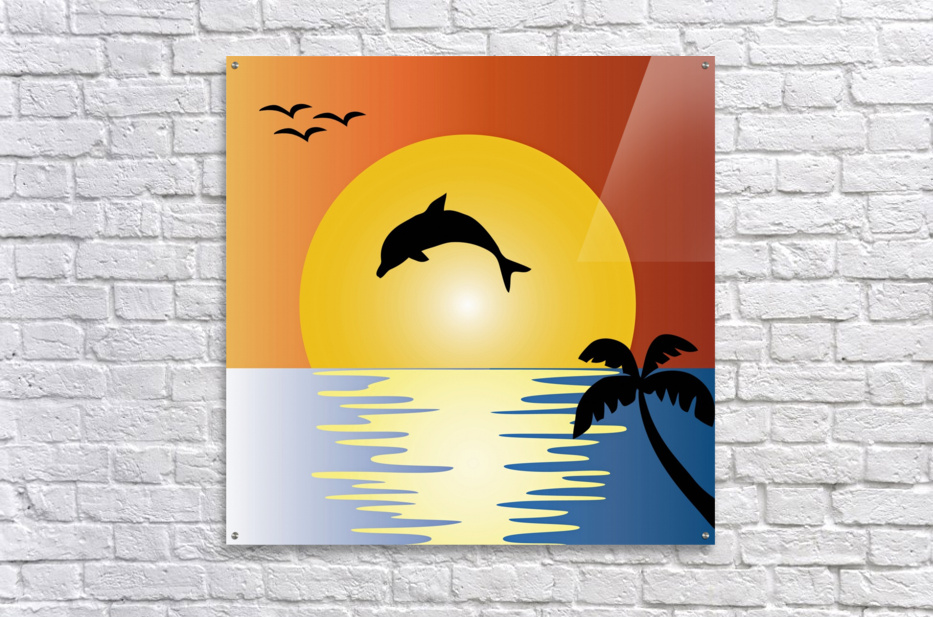ocean sunset dolphin palm tree  Acrylic Print