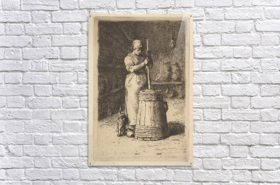 Woman churning butter  Acrylic Print