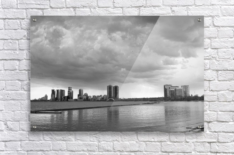 City at Ontario Lake B&W  Acrylic Print