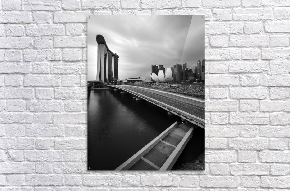 Singapores Marina Bay seen from the highway crossover  Acrylic Print