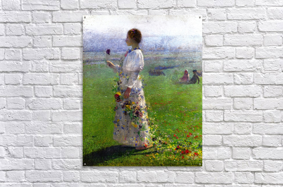 Young Woman Walking by the Field  Acrylic Print