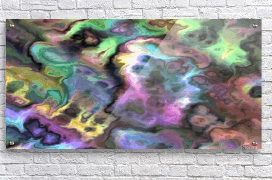 Dark Rainbow Marble multicolor abstract pattern wall art  Acrylic Print
