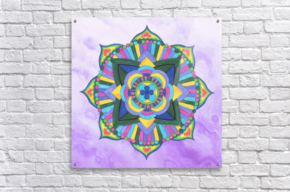 Hand Painted Mandala Watercolor Meditation on Purple  Acrylic Print