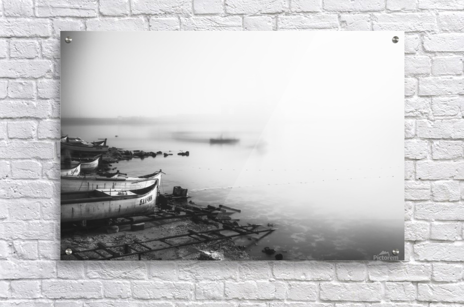 Foggy fishing port  Acrylic Print
