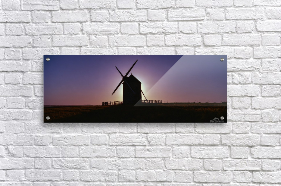 Windmill against the sunset north west France.  Acrylic Print