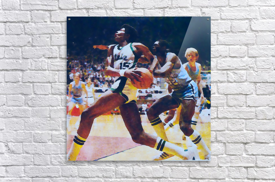 1979 michigan state spartans indiana state larry bird watercolor sports art mixed media basketball  Acrylic Print