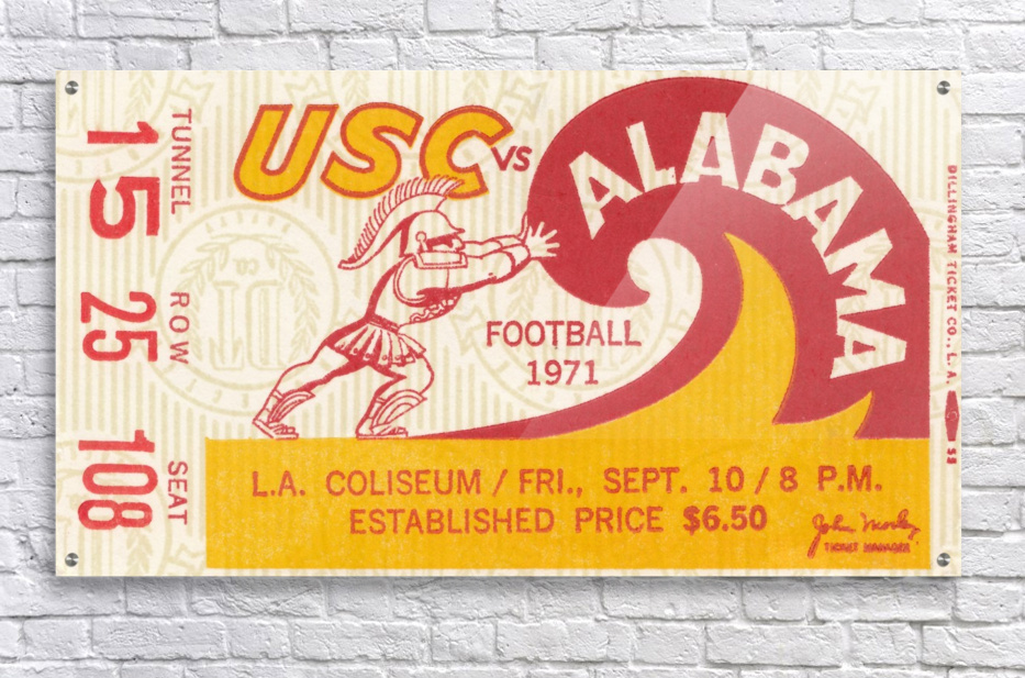 1971 alabama usc trojans football ticket stub prints on wood  Acrylic Print