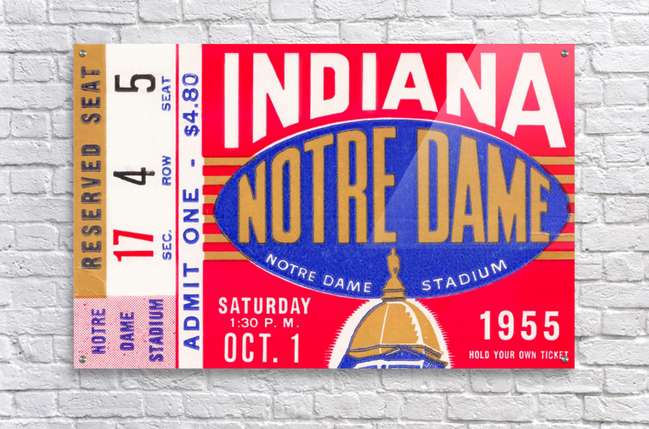 1955 indiana notre dame football ticket stub wall art canvas posters wood  Acrylic Print