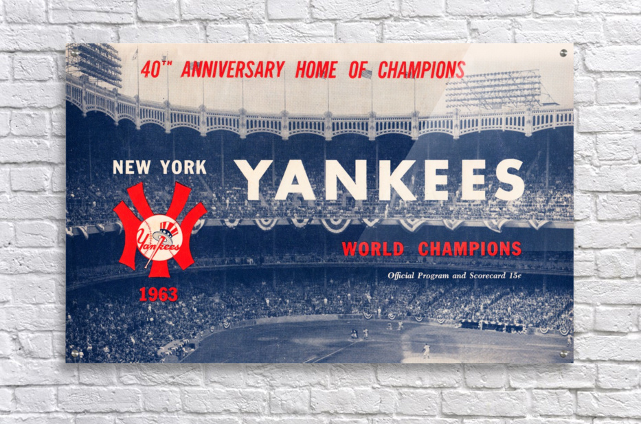 1963 new york yankees world champions scorecard canvas  Acrylic Print