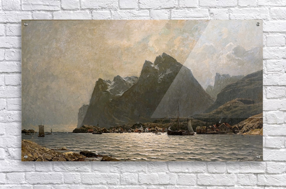 Fjord landscape with ships and figures  Acrylic Print