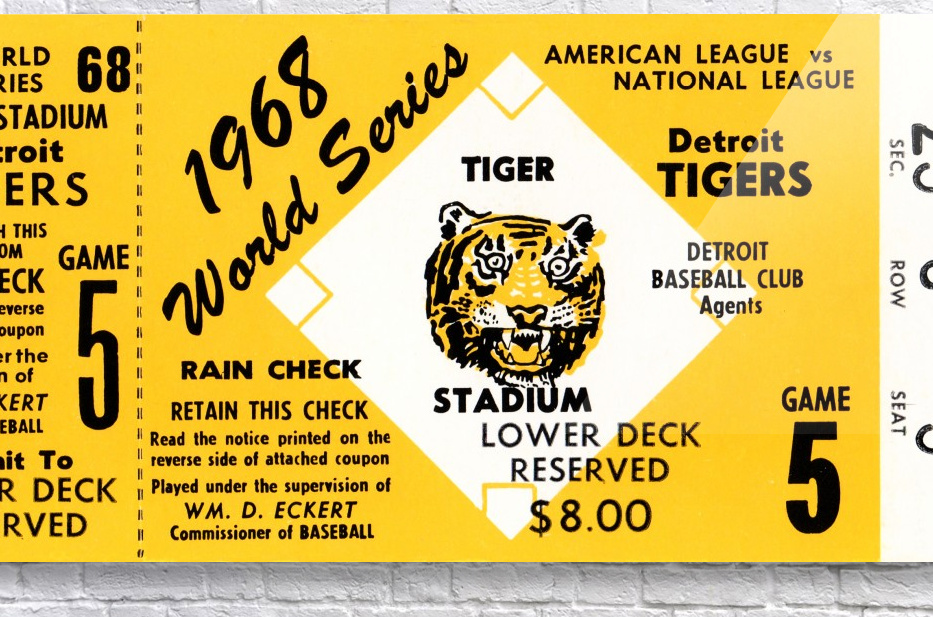 1968 Detroit Tigers World Series Tickets  Acrylic Print