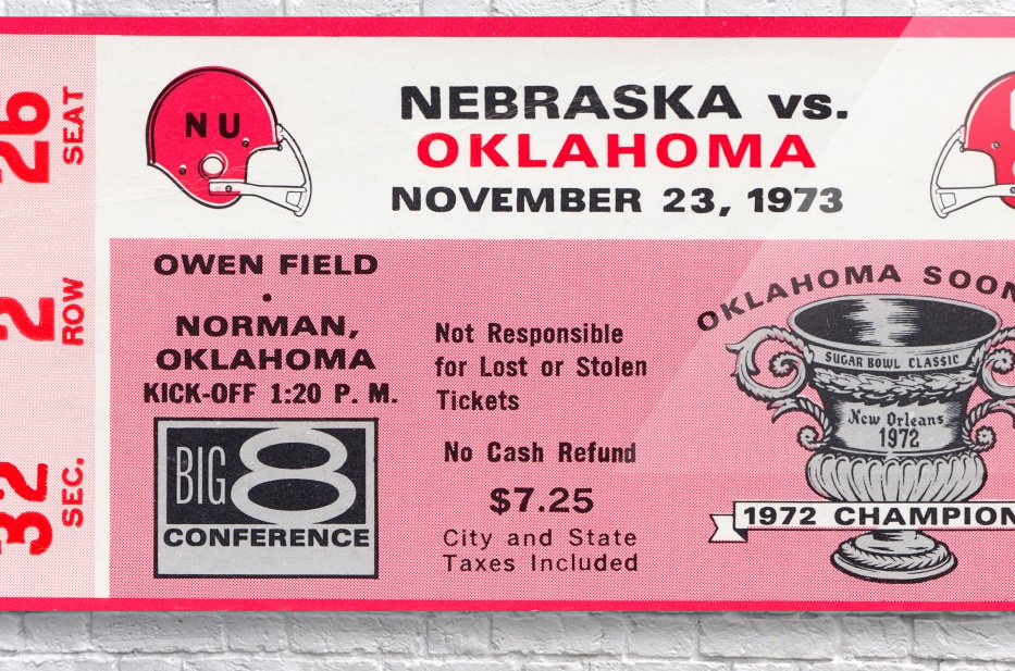1973 oklahoma sooners nebraska cornhuskers owen field norman college football ticket art  Acrylic Print