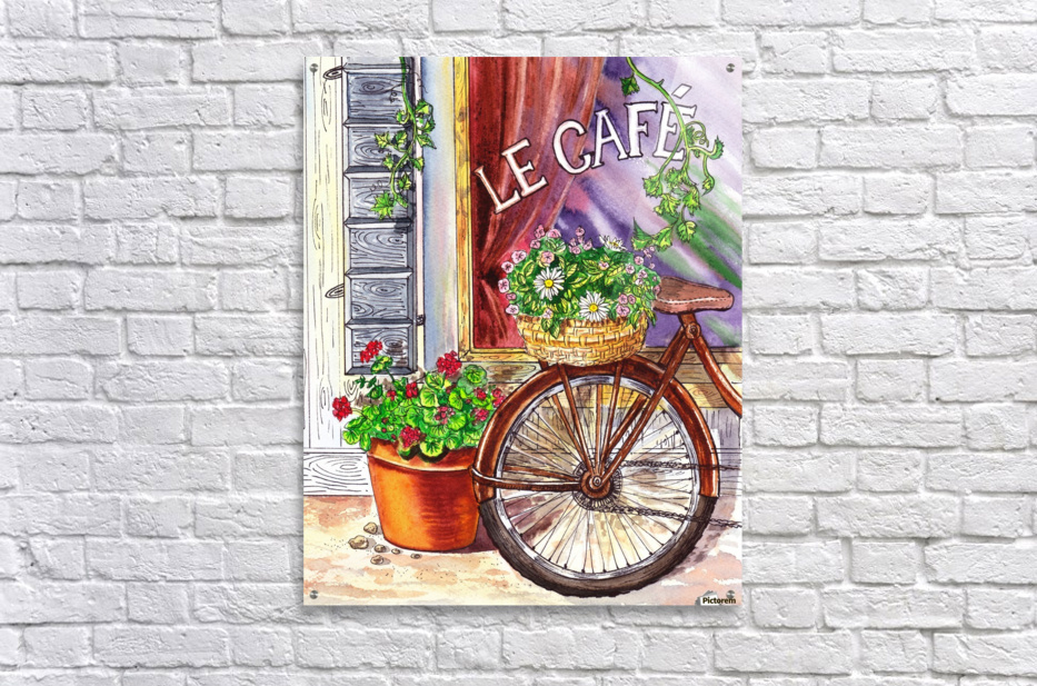 French Cafe And Bicycle With Basket  Acrylic Print