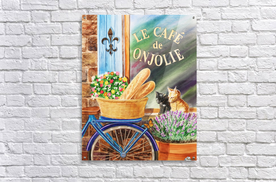 Bicycle With Basket At The Cafe Window  Acrylic Print