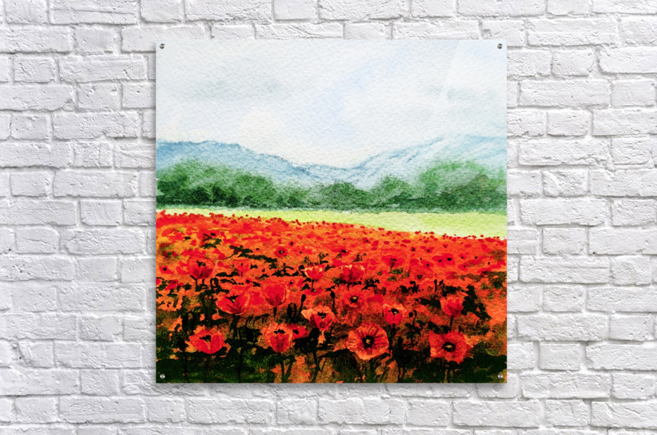 Red Poppies Field  Acrylic Print