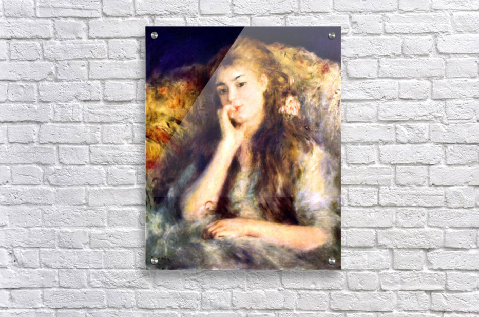 Portrait of a girl in thoughts by Renoir  Acrylic Print