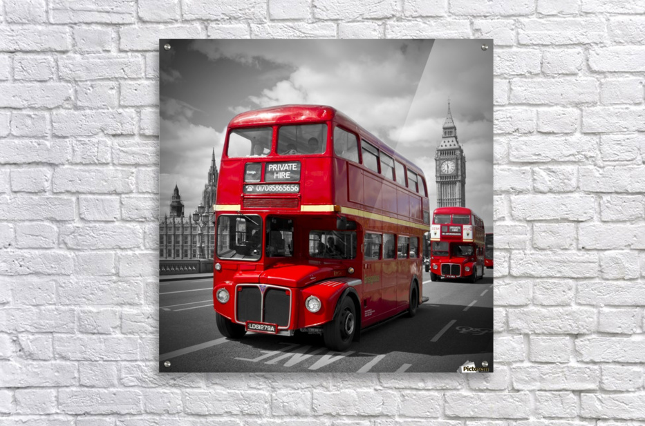 LONDON Red Buses on Westminster Bridge  Acrylic Print