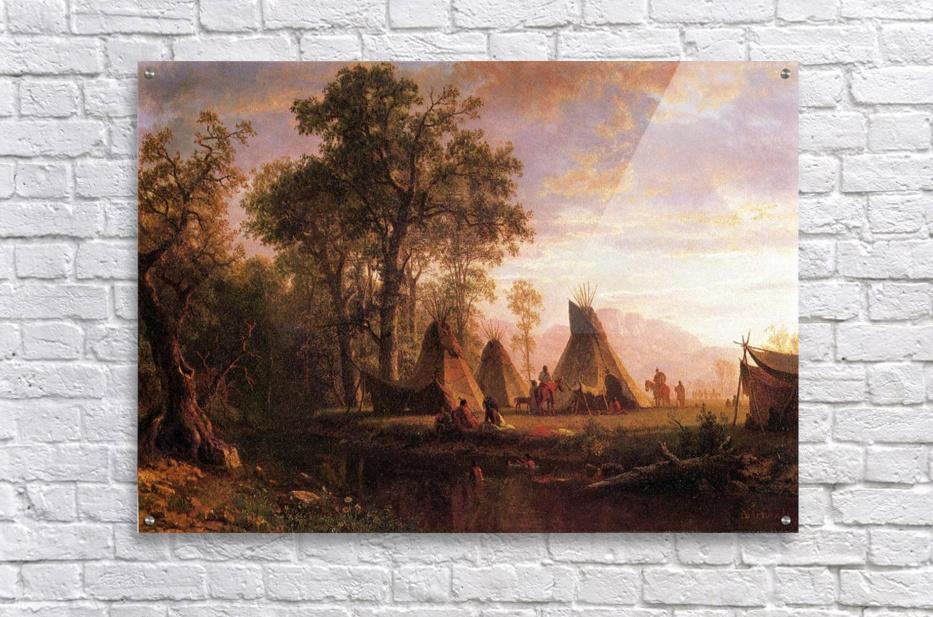 """31/"""" X 23/"""" Western Art New Museum Printed Indian Encampment by Albert Bierstadt"""