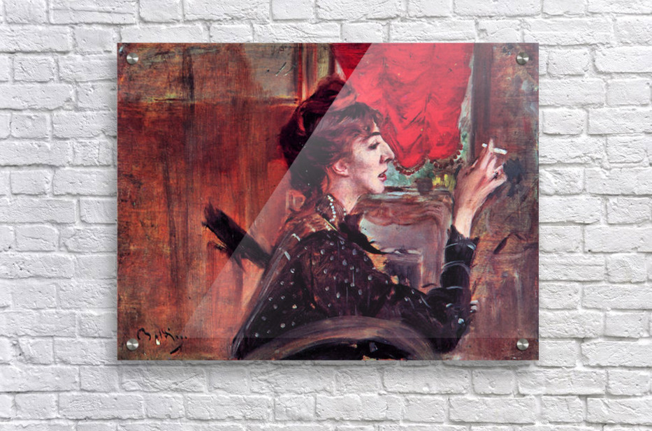 The red curtain by Giovanni Boldini  Acrylic Print