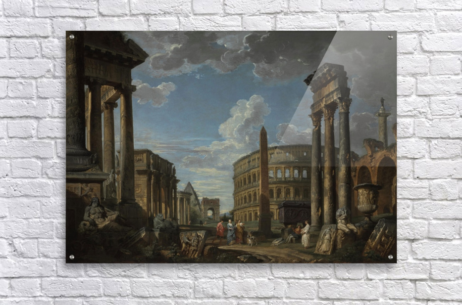 An architectural capriccio with figures among Roman ruins  Acrylic Print