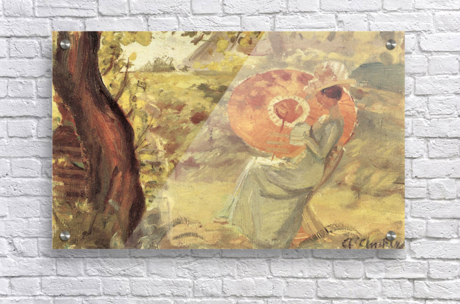 Young girl in garden with orange umbrella by Anna Ancher - Anna ...