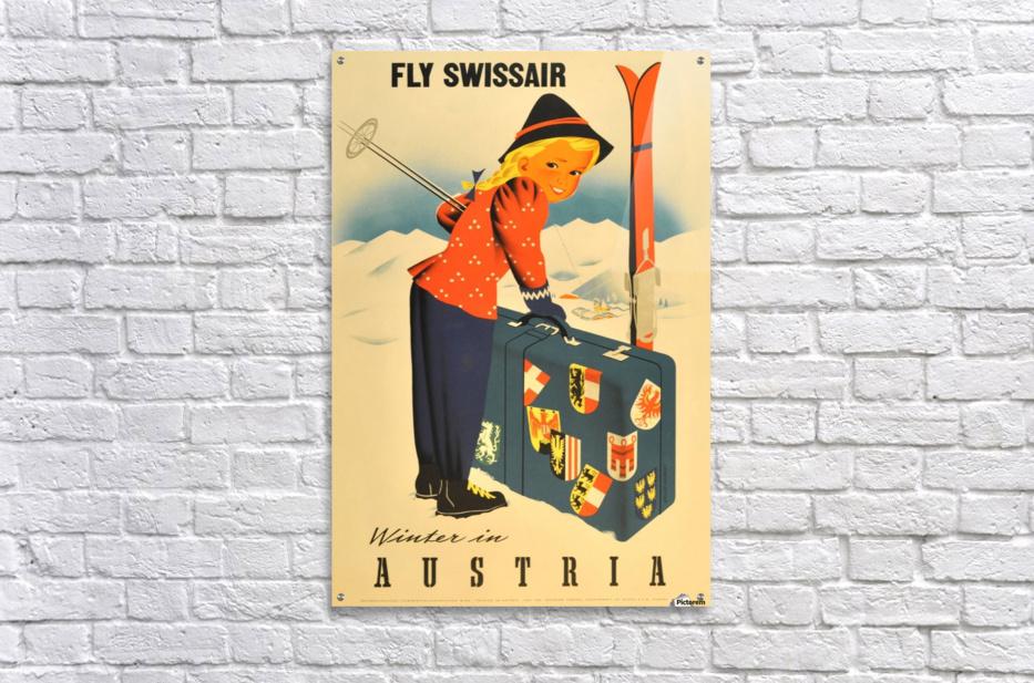 Original vintage ski poster promoting winter sports in Austria, Fly ...