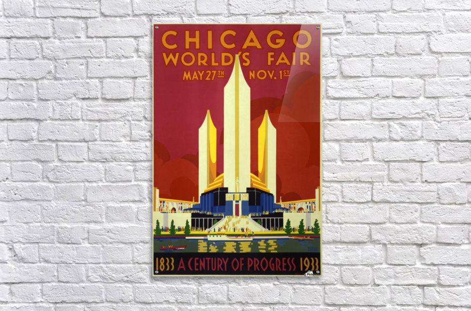 A vintage travel poster promoting the 1933 World Fair in Chicago  Acrylic Print