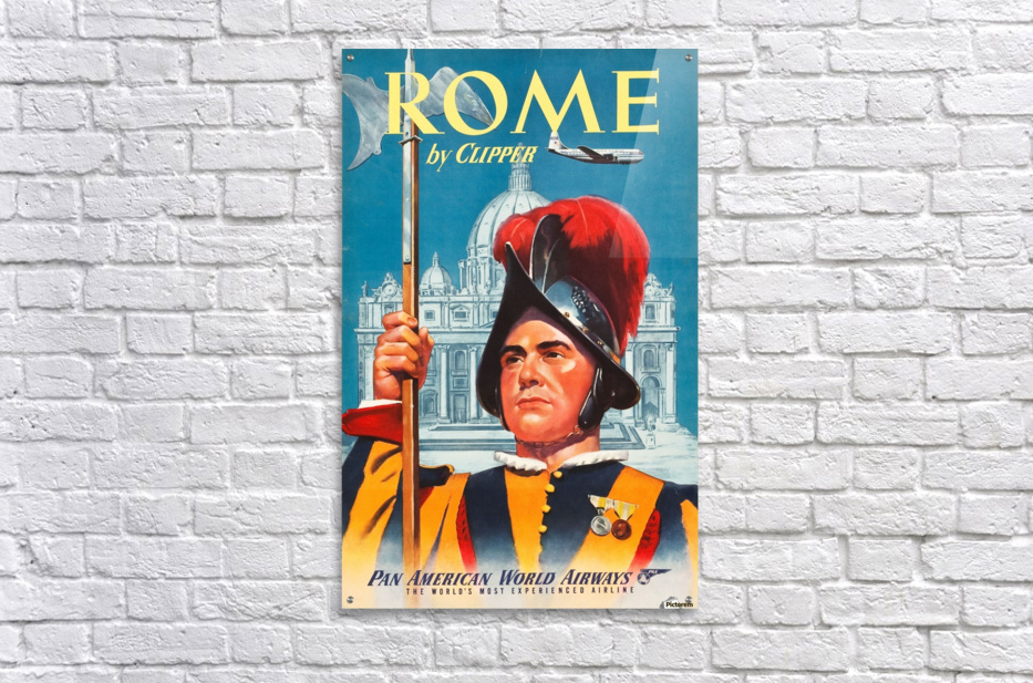 Rome Pan American World Airways Travel Poster - VINTAGE POSTER Canvas