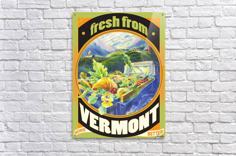 Faux Vintage Fresh from Vermont Travel Poster  Acrylic Print