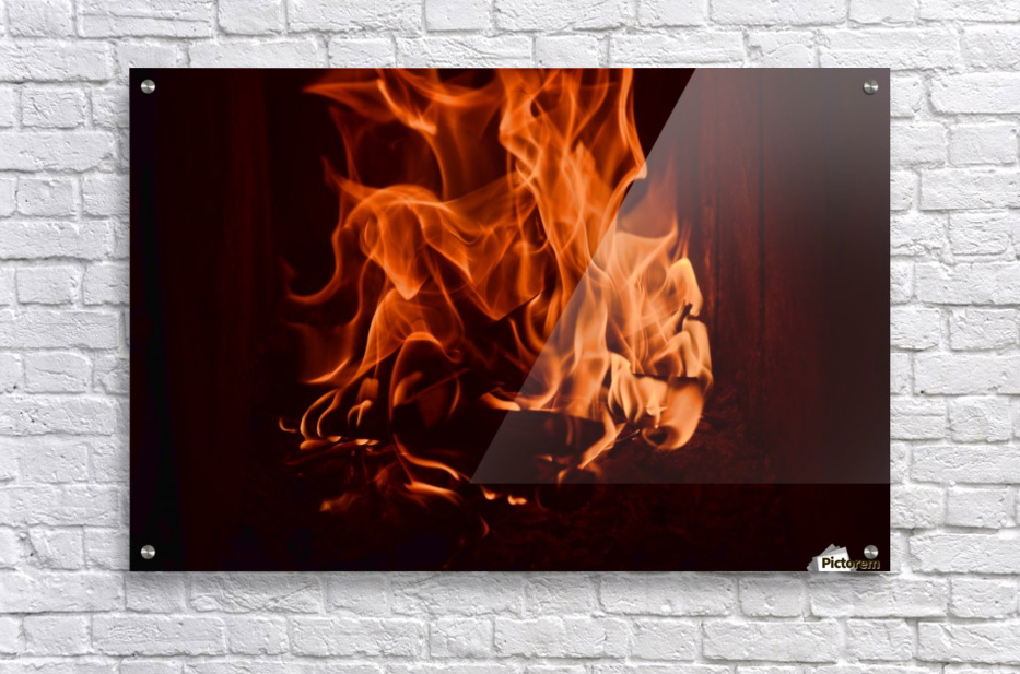 Fierce fire flames in the fireplace  Acrylic Print