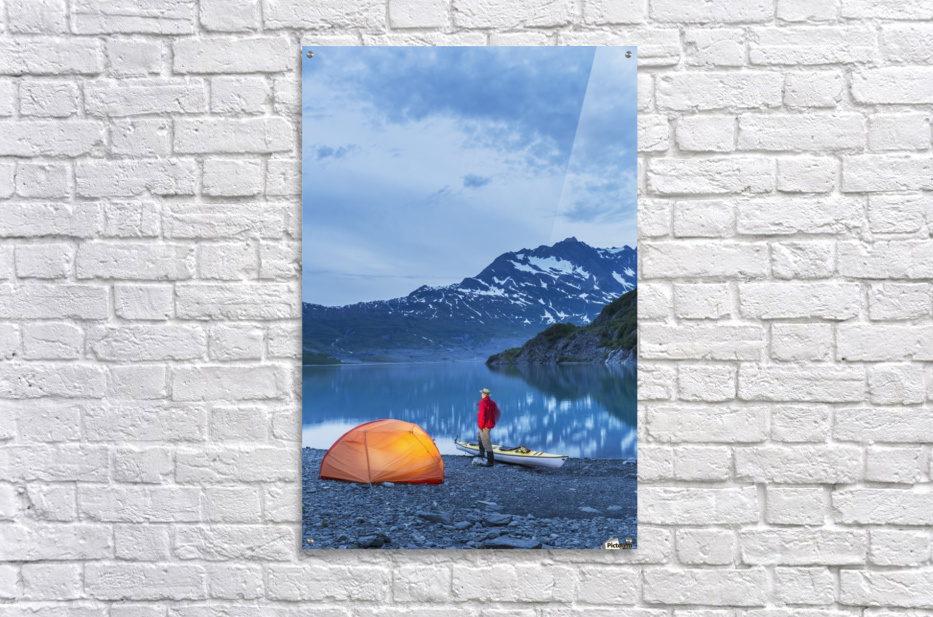 Acrylic print Man c&ing with a tent and kayak at Shoup Bay State ...  sc 1 st  Pictorem.com & Man camping with a tent and kayak at Shoup Bay State Marine Park ...