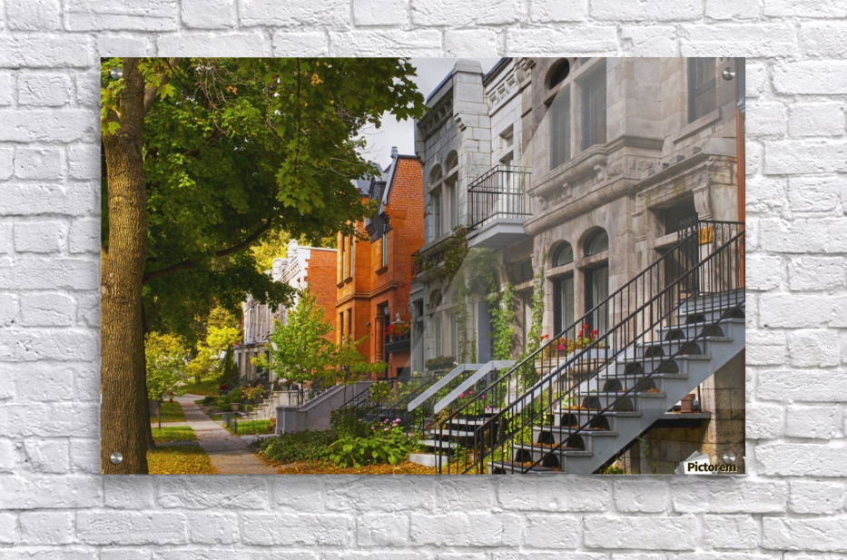 Apartment buildings along city street; Montreal, Quebec ...