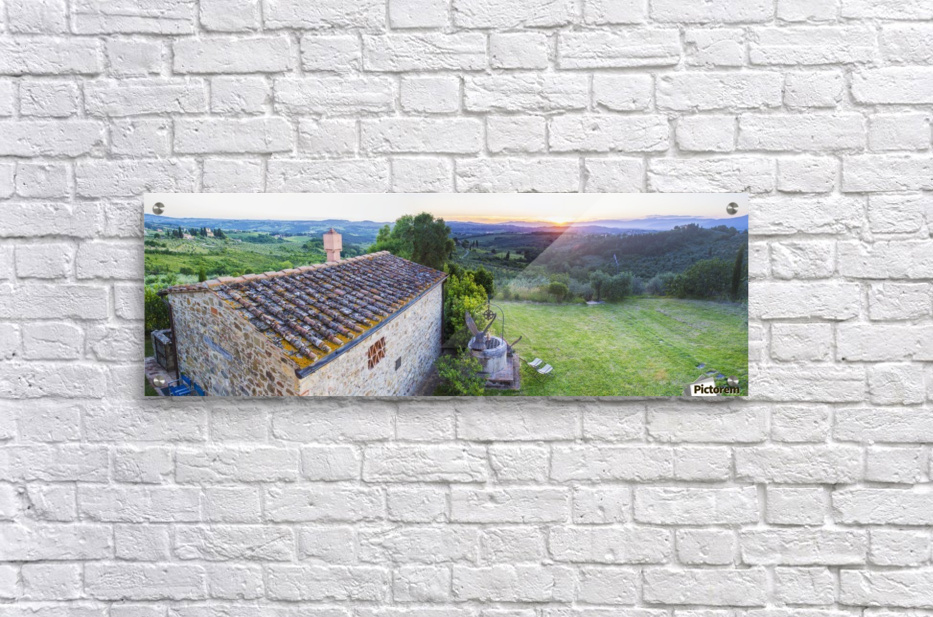 A stone house and a view of the lush landscape at sunset, Villa Capanuccia; Florence, Italy  Acrylic Print
