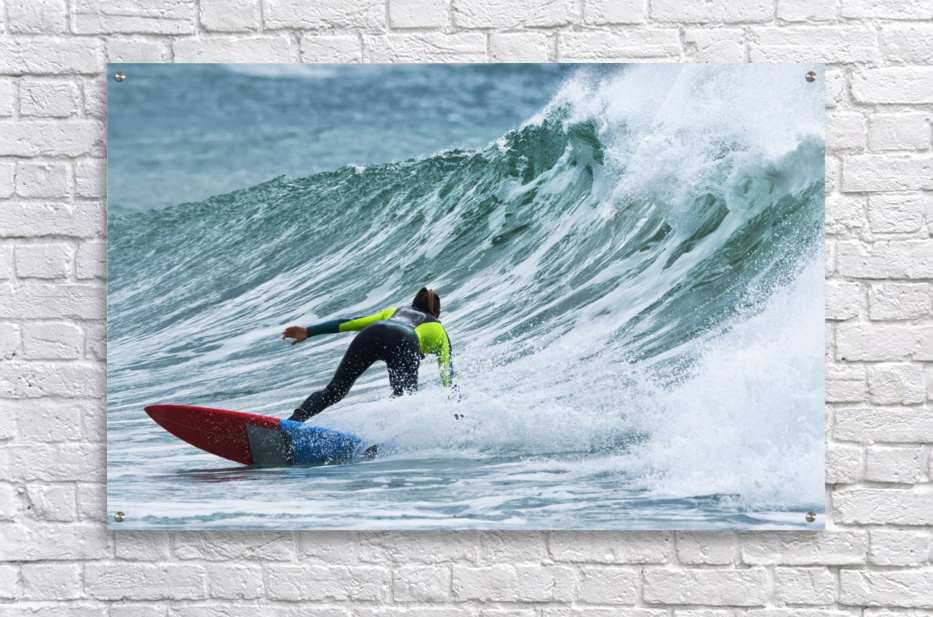 Surfer catching a wave; Tarifa, Cadiz, Andalusia, Spain  Acrylic Print