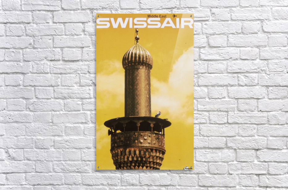Swissair poster for Middle East  Impression acrylique