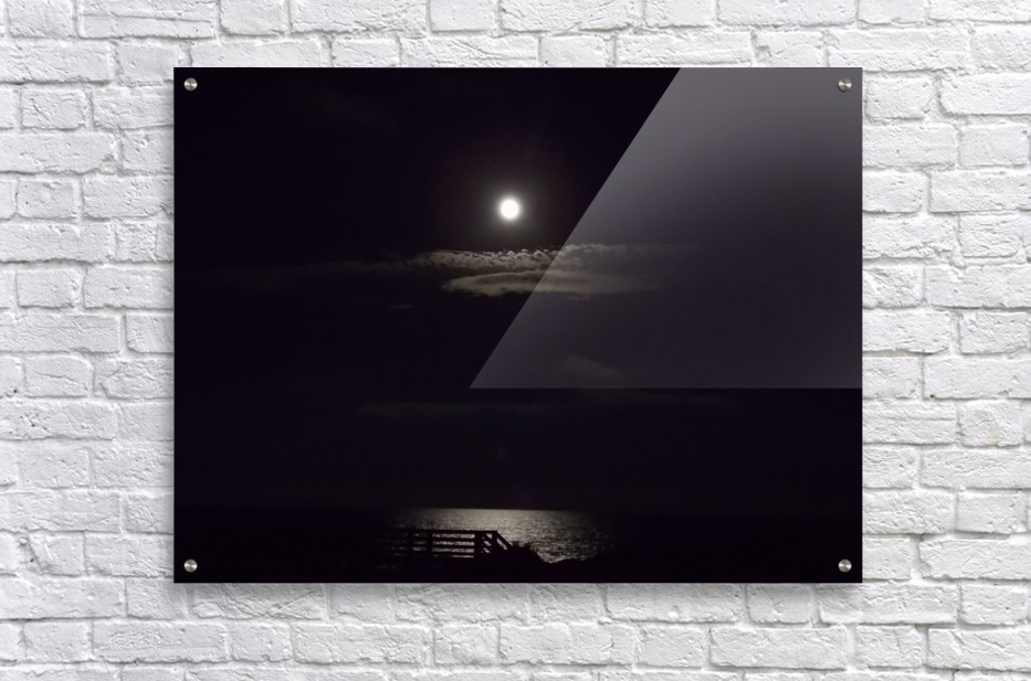 Moon over Docks and Pier  Acrylic Print