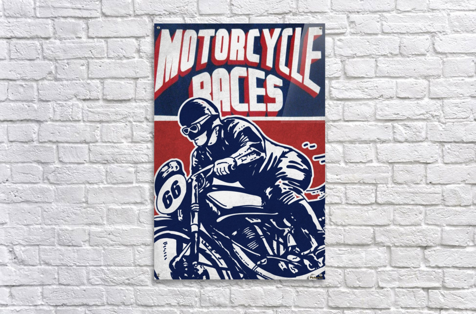 Motorcycle Racing Vintage Poster  Acrylic Print