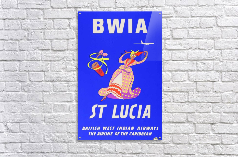 BWIA St Lucia original travel poster  Acrylic Print