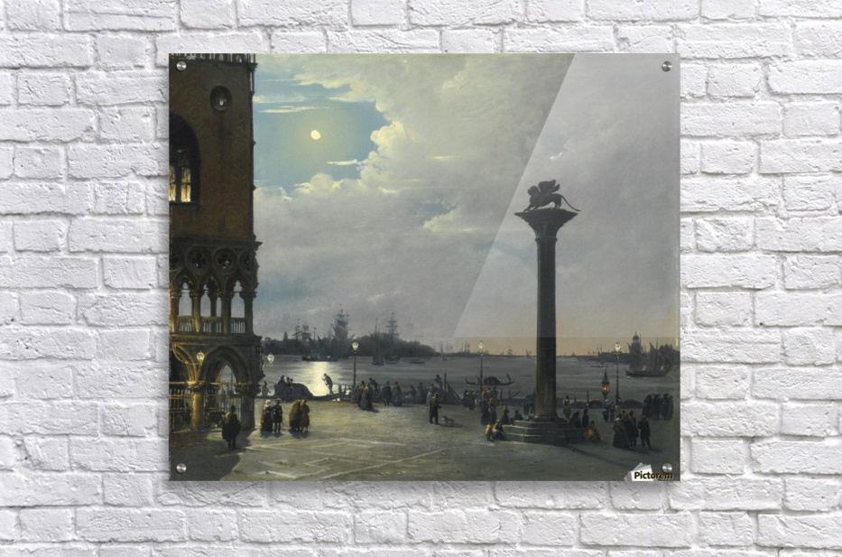 Venice, a nocturnal view of Piazza San Marco with The Ducal Palace ...