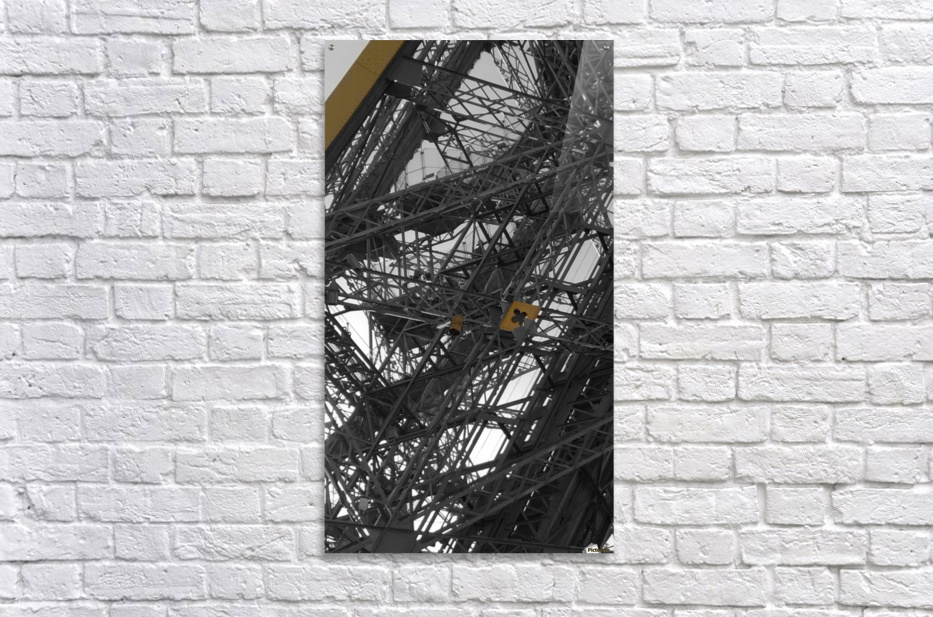 Eiffel tower Paris gold on black and white   Acrylic Print