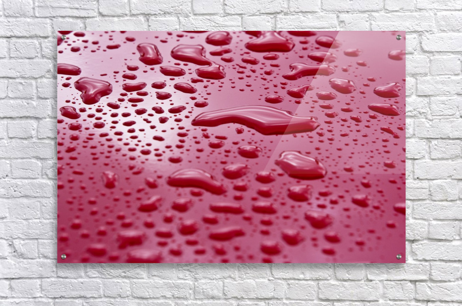 Liquid Drops On Red Surface  Acrylic Print
