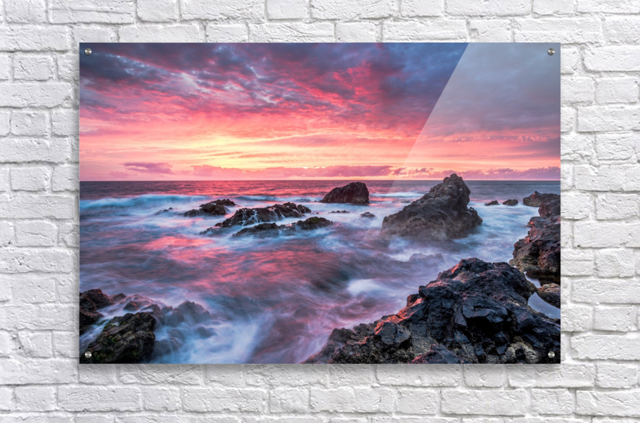Colorful Sunset at Wild Coast on the Canary Islands  Acrylic Print