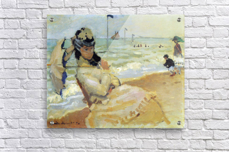 Camille on the beach at Trouville by Monet  Acrylic Print