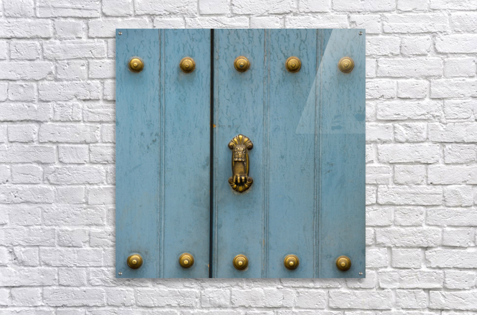 A Blue Door With Brass Decorative Knobs; Cusco, Peru  Acrylic Print