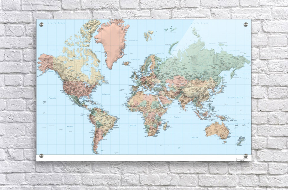 World Map Hi Res Worldflag Canvas