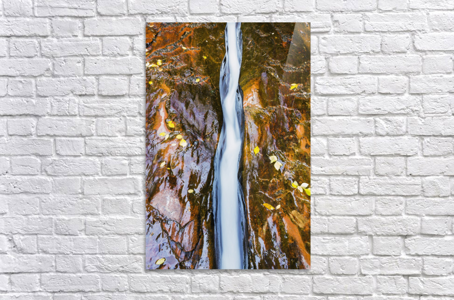 Water flowing in beautiful stone rivet along the subway trail in zion national park;Utah, united states of america  Acrylic Print